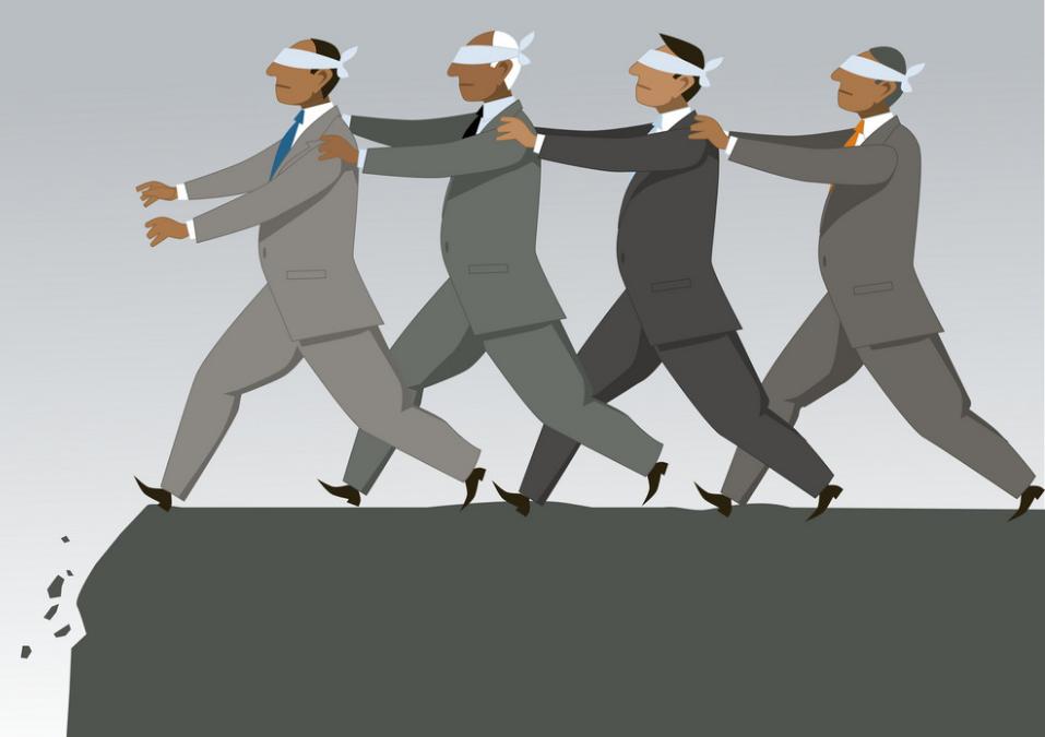 Blind leading blind cartoon image